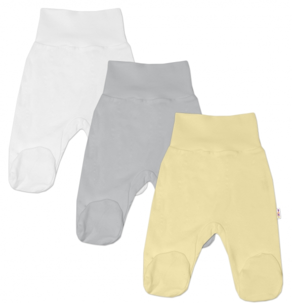 Baby Nellys Kojenecká neutr. sada polodupaček BASIC - žlutá, šedá, bílá - 3 ks