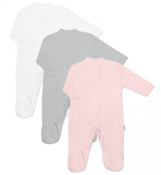 Baby Nellys Kojenecká dívčí sada overálů BASIC - růžová, šedá, bílá - 3 ks