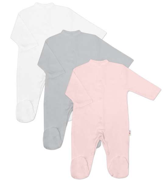 Baby Nellys Kojenecká dívčí sada overálů BASIC - růžová, šedá, bílá - 3 ks, vel. 62
