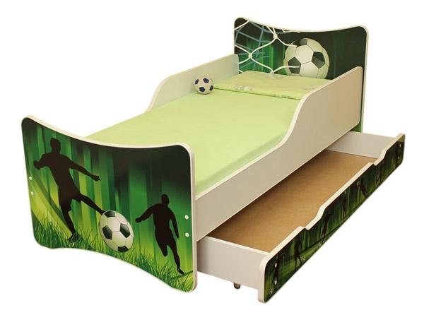NELLYS Dětská postel se zábranou a šuplík/y Fotbal - 160x80 cm