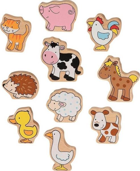 GOKI Dřevěné figurky - Farma, 10 ks