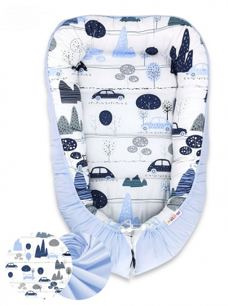 Oboustranné hnízdečko Baby Nellys Velvet, 55x75cm - Auta v aleji - modrý velvet/auta modrá