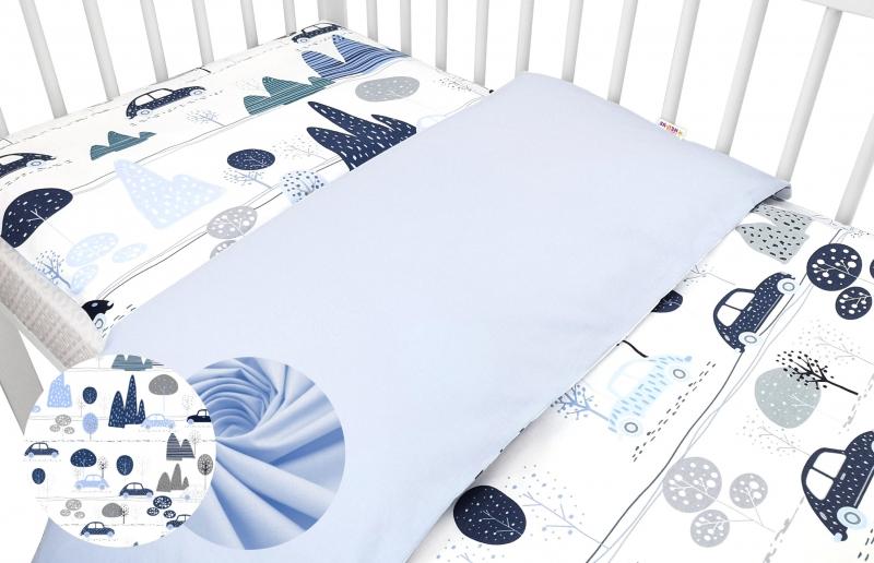 2-dílné bavlněné povlečení Baby Nellys - Auta v aleji, modrá, roz. 135x100 cm