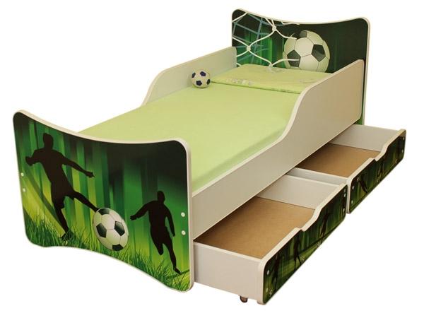 NELLYS Dětská postel se zábranou a šuplík/y Fotbal  - 180x90 cm
