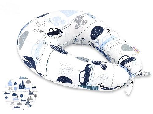Bavlněný kojící polštář Baby Nellys - Auta v aleji, modrá