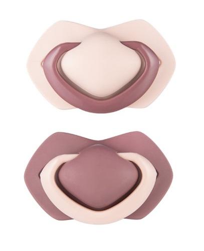 Canpol Babies Sada 2 ks symetrických silikonových dudlíků, 18m+,  PURE COLOR růžová/bordo