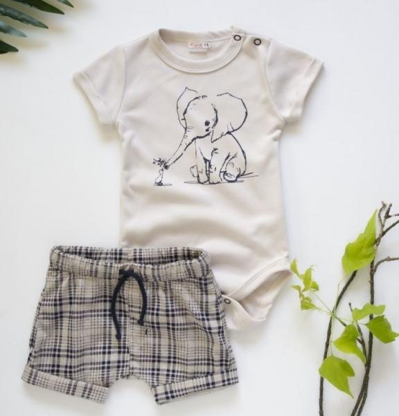 K-Baby 2 dílná dětská sada, body s kraťasky Boy Slon, vel. 74  - béžový