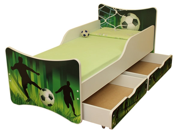 NELLYS Dětská postel se zábranou a šuplík/y Fotbal  - 200x90 cm