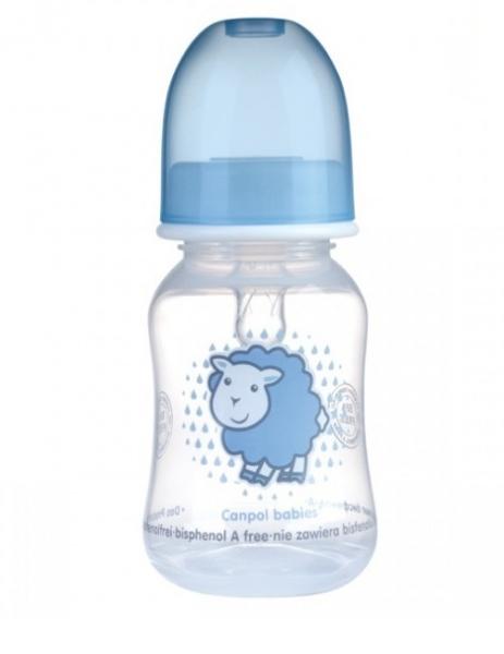 Canpol babies Lahvička s potiskem 120 ml ,Sheep - sv. modrá