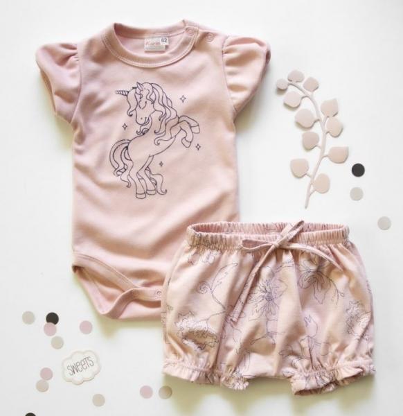 K-Baby 2 dílná dětská sada, body s kraťasky Girl Unicorn, vel. 80 - starorůžová