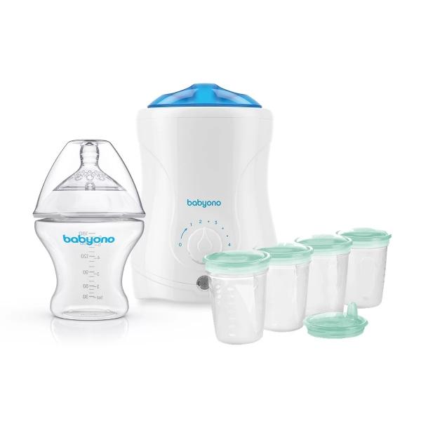 BabyOno - zvýhodněná sestava - ohřívač včetně sterilizace, antikoliková láhev a nádobky
