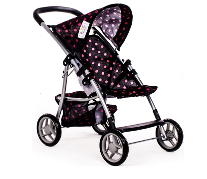 Sportovní kočárek Doris pro panenky s puntíky - černý, růžové puntíky