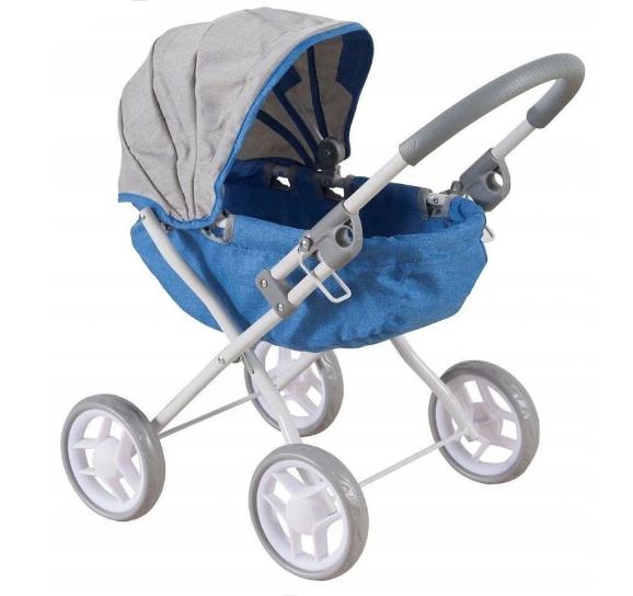 BABY MIX Kočárek pro panenky - modro,šedý