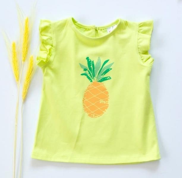 K-Baby Dětské bavlněné triko, krátký rukáv - Ananas - limetka, vel. 80, Velikost: 80 (9-12m)