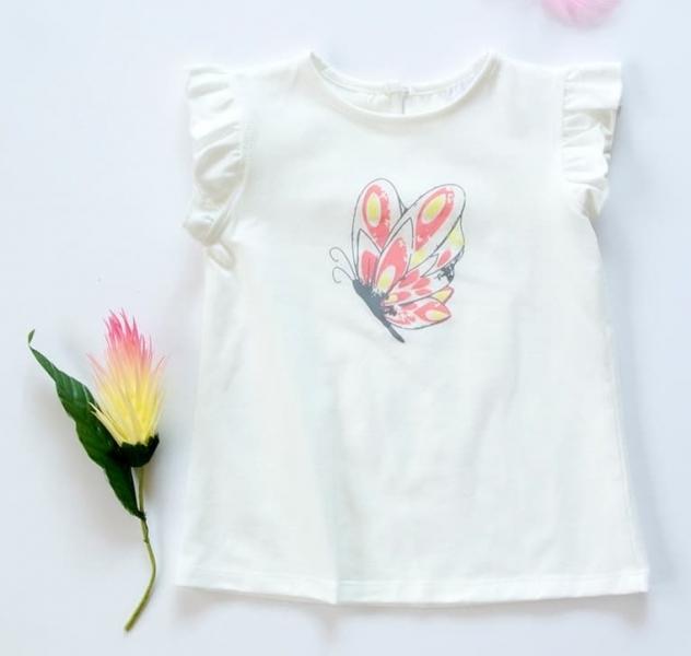 K-Baby Dětské bavlněné triko, krátký rukáv - Motýl - smetanové, vel. 74