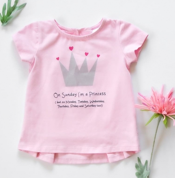 K-Baby Dětské bavlněné triko, krátký rukáv - Princess - sv. růžové, vel. 74