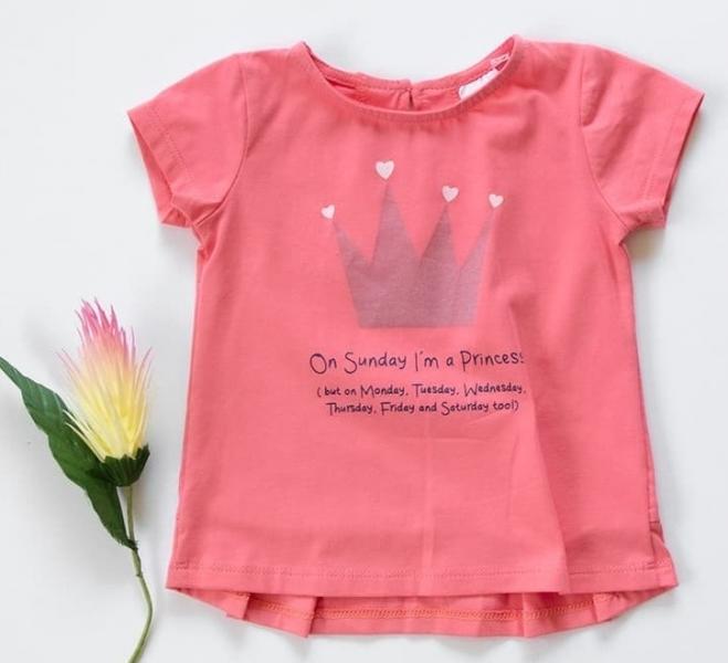 K-Baby Dětské bavlněné triko, krátký rukáv - Princess - růžové, korál, vel. 68