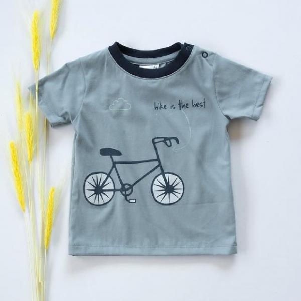 K-Baby Klučičí bavlněné triko, krátký rukáv - modro/šedé, Bike is the best, vel. 74