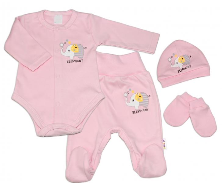 Baby Nellys 4-ti dílná soupravička do porodnice Elephant, růžová