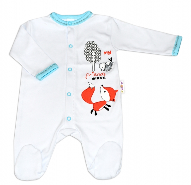 Baby Nellys Bavlněný kojenecký overal Fox - bílý, vel. 74