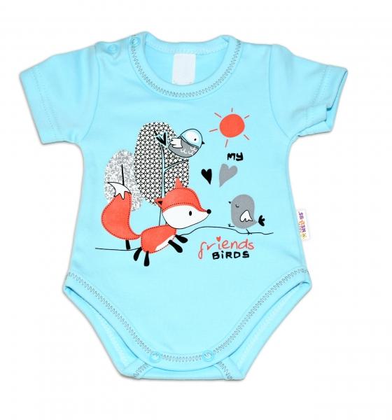 Baby Nellys Bavlněné kojenecké body, kr. rukáv, Fox - tyrkysové