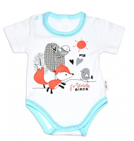 Baby Nellys Bavlněné kojenecké body, kr. rukáv, Fox - bílé, vel. 74