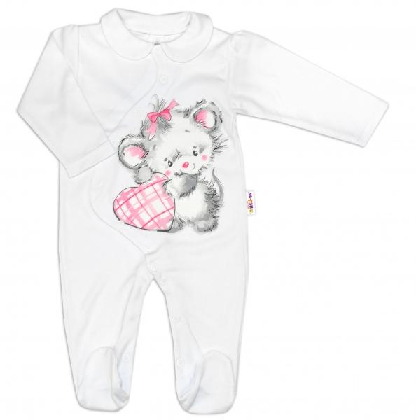 Baby Nellys Bavlněný kojenecký overal Mouse Love - bílý, vel. 68