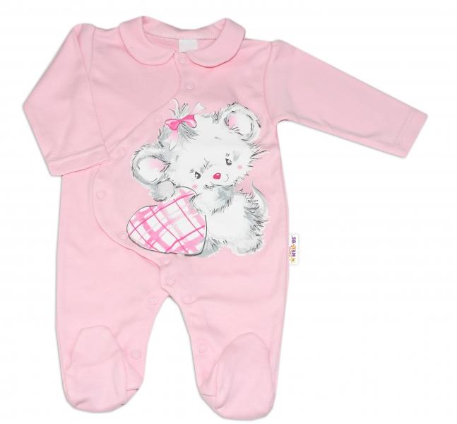Baby Nellys Bavlněný kojenecký overal Mouse Love - růžový, vel. 68