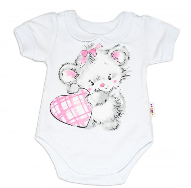 Baby Nellys Bavlněné kojenecké body, kr. rukáv, Mouse Love - bílé, vel. 68