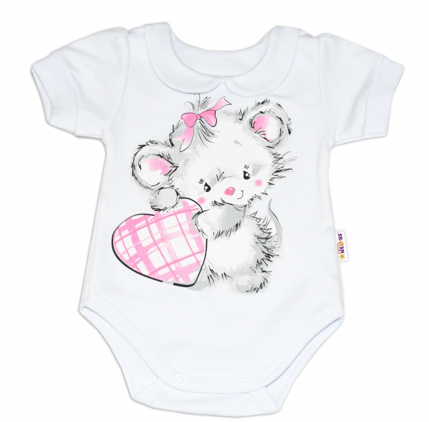 Baby Nellys Bavlněné kojenecké body, kr. rukáv, Mouse Love - bílé, vel. 86