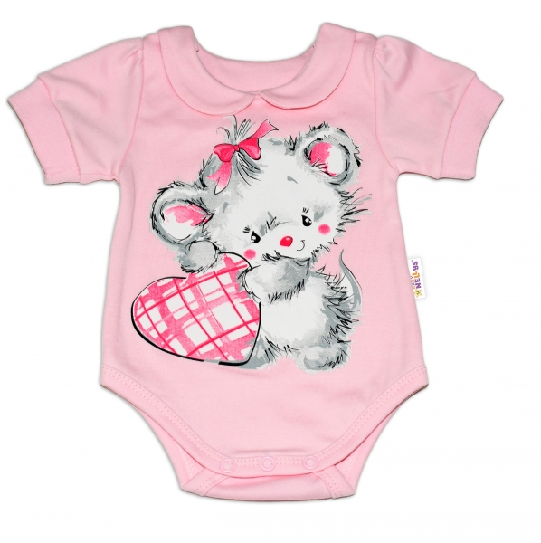 Baby Nellys Bavlněné kojenecké body, kr. rukáv, Mouse Love - růžové, vel. 80