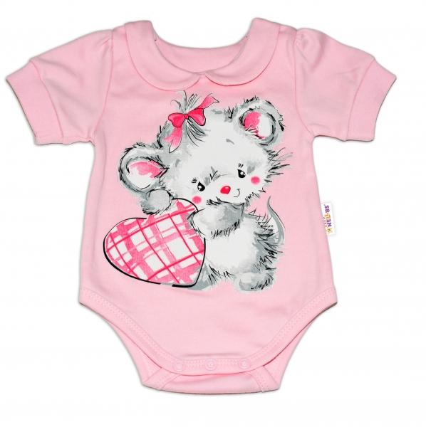 Baby Nellys Bavlněné kojenecké body, kr. rukáv, Mouse Love - růžové, vel. 86