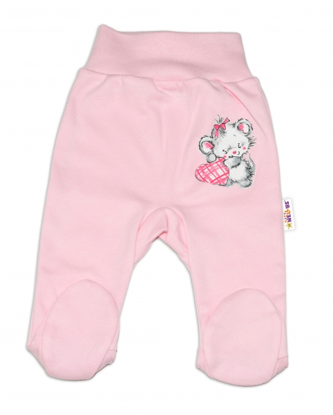 Baby Nellys Bavlněné kojenecké polodupačky, Mouse Love - růžové , vel. 68