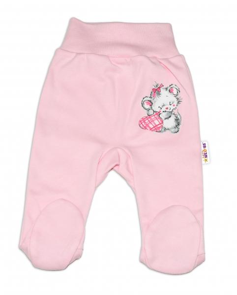 Baby Nellys Bavlněné kojenecké polodupačky, Mouse Love - růžové , vel. 74
