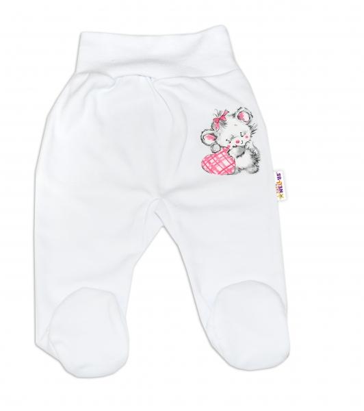 Baby Nellys Bavlněné kojenecké polodupačky, Little Mouse Love - bílé, vel. 68