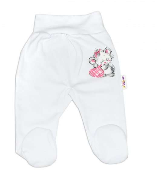 Baby Nellys Bavlněné kojenecké polodupačky, Little Mouse Love - bílé, vel. 80