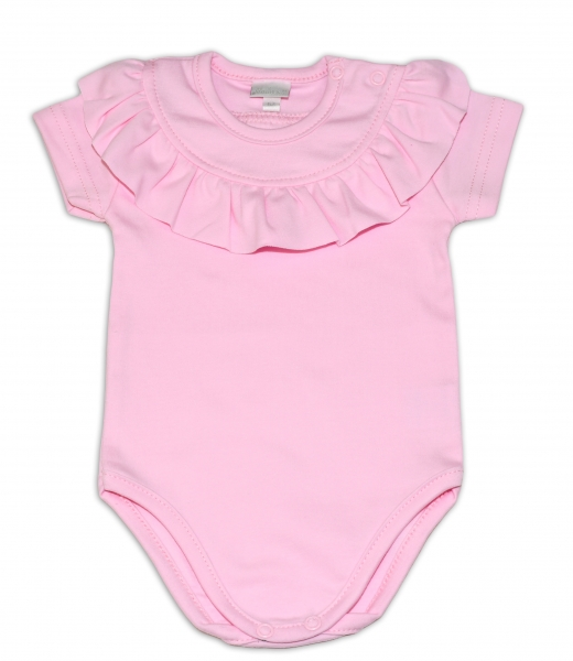 G-baby  Bavlněné body s volánkem, krátký rukáv - sv. růžové, vel. 68, Velikost: 68 (4-6m)