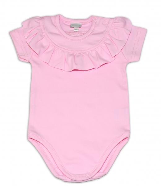 G-baby  Bavlněné body s volánkem, krátký rukáv - sv. růžové, vel. 80
