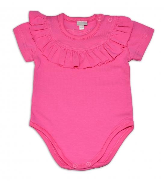 G-baby  Bavlněné body s volánkem, krátký rukáv - tm. růžové, vel. 92, Velikost: 92 (18-24m)