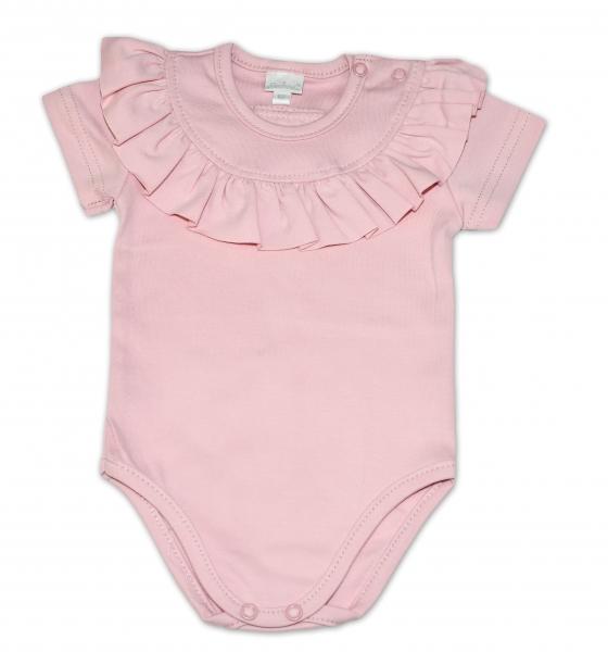 G-baby  Bavlněné body s volánkem, krátký rukáv - pudrově růžové