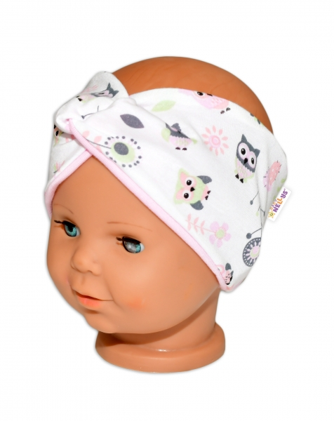 Baby Nellys Hand Made Jarní, bavlněná čelenka - dvouvrstvá, sovičky - sv. růžová