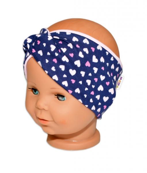 Baby Nellys Hand Made Jarní, bavlněná čelenka - dvouvrstvá, srdíčka - růžová/granát, 44-48