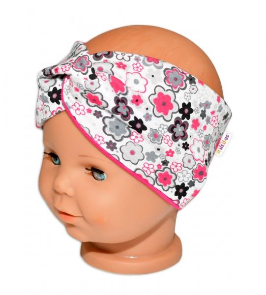 Baby Nellys Hand Made Jarní, bavlněná čelenka - dvouvrstvá, květinky - růžovo/bílá