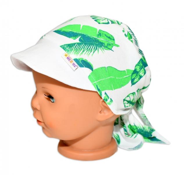 Baby Nellys Šátek na zavazování s kšiltem - Listy, vel. 46-48