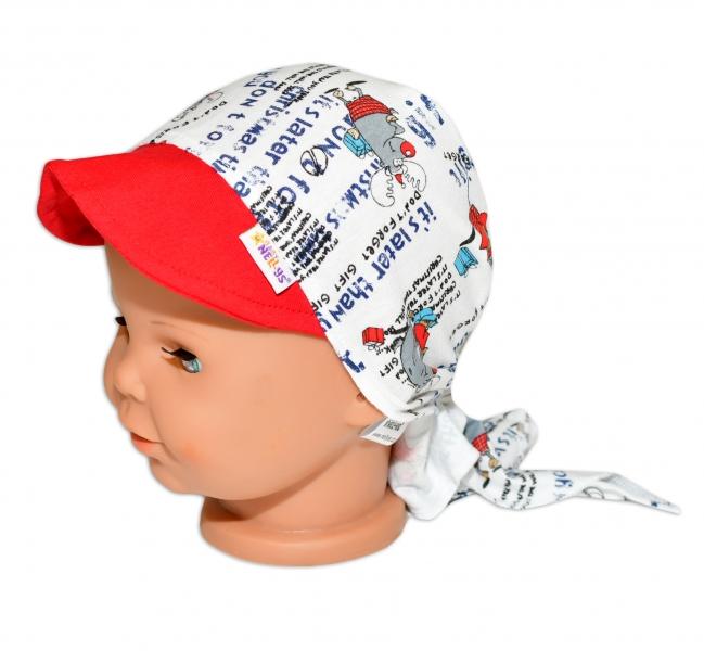 Baby Nellys Šátek na zavazování s kšiltem - Sobík, vel. 46-48