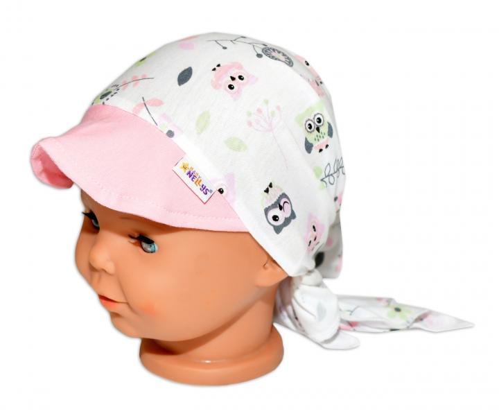 Baby Nellys Šátek na zavazování s kšiltem - Sovičky, vel. 46-48