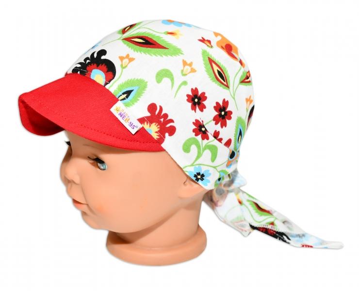 Baby Nellys Šátek na zavazování s kšiltem - Louka, vel. 46-48