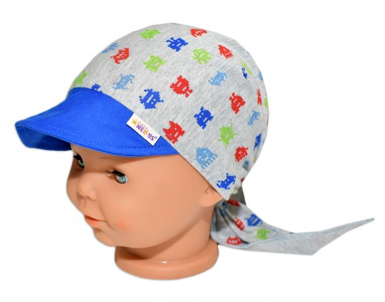 Baby Nellys Šátek na zavazování s kšiltem - Příšerky, vel. 46-48