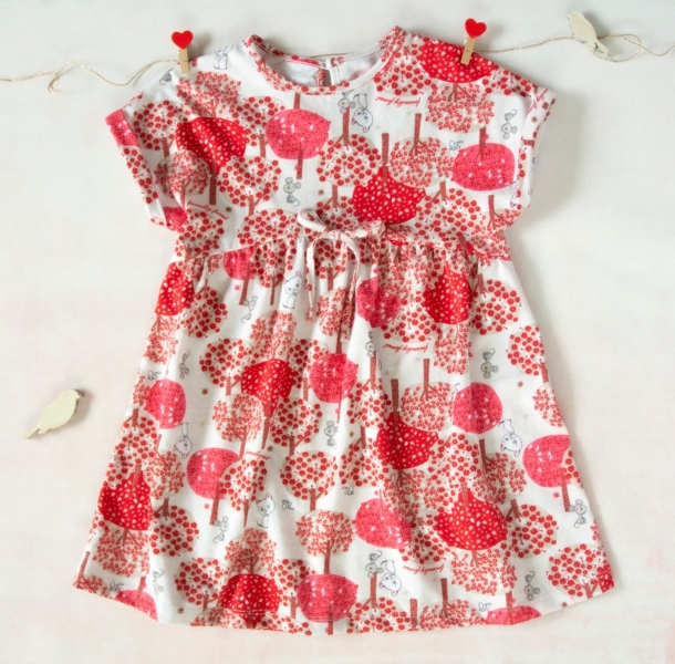 K-Baby Letní stylové dětské šatičky Zvířátka a stromy - červené, hnědá, vel. 80