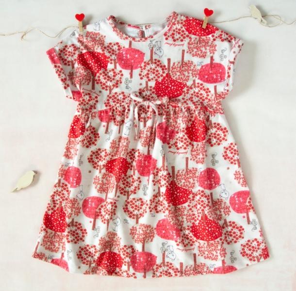 K-Baby Letní stylové dětské šatičky Zvířátka a stromy - červené, hnědá, vel. 86